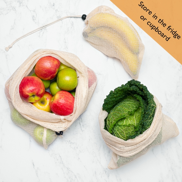reusable cotton produce bags